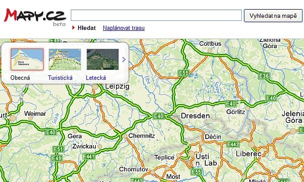Screenshot beta verze nových Mapy.cz