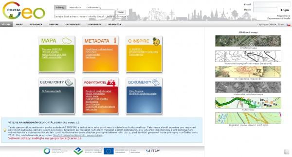 Úvodní obrazovka Národního geoportálu