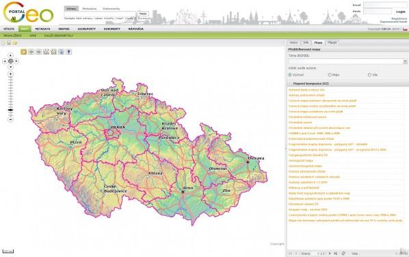 Základní mapová obrazovka Národního geoportálu