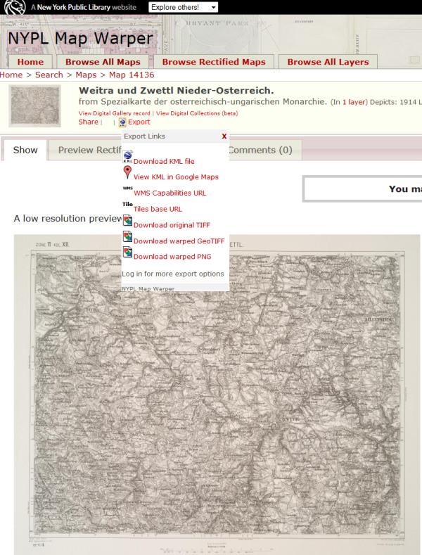 Mapu si můžete exportovat do KML.