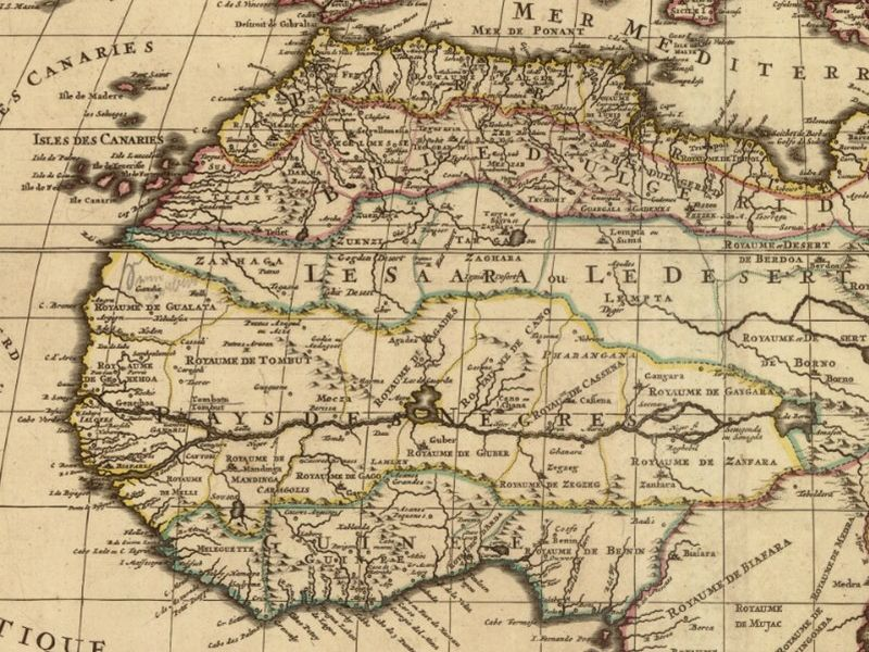 Alexis Hubert Jaillot - výřez z mapy Afriky z roku 1694 (Mapová sbírka Univerzity Karlovy v Praze)