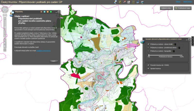 Ukázka mapového portálu PUPík v Českém Krumlově pro náhled na územní plán