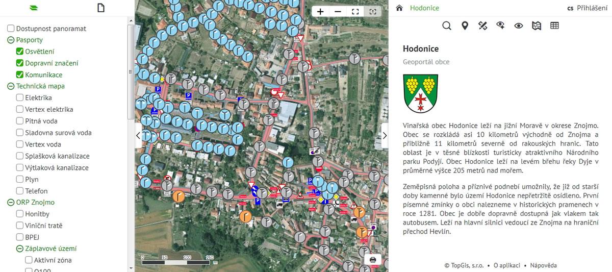 GisOnline.cz pro obec Hodonice - online správa majetku / GeoBusiness