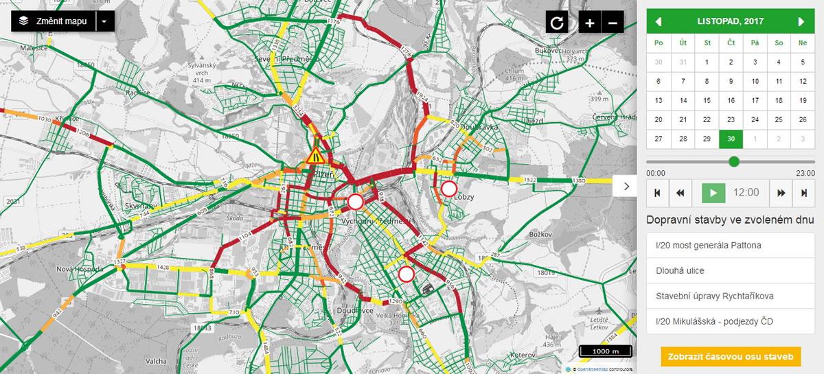 Vizualizace intenzity dopravy v Plzni / GeoBusiness