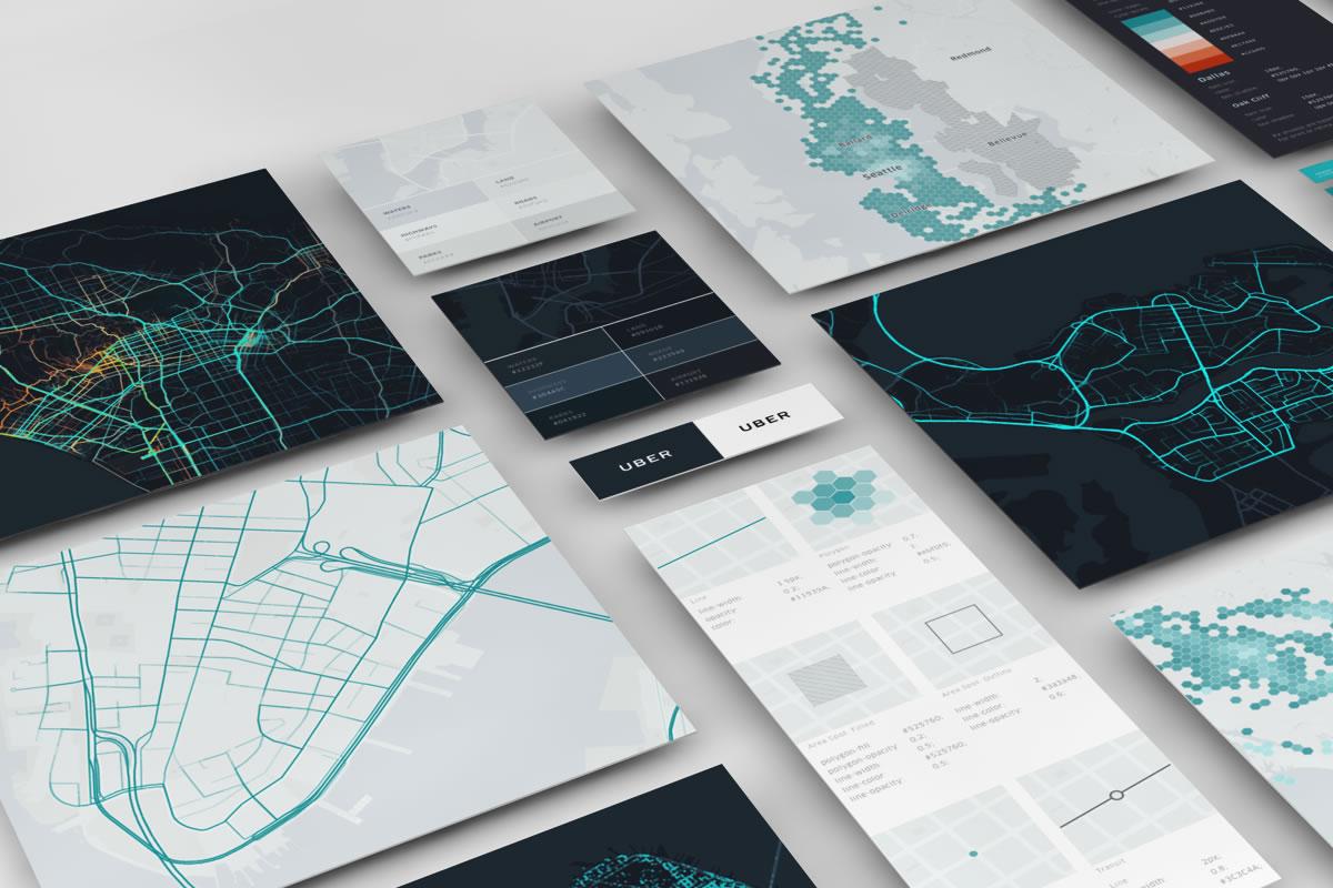 Příklady kartografického vizuálu ve firmě Uber [zdroj blog Uber Design]