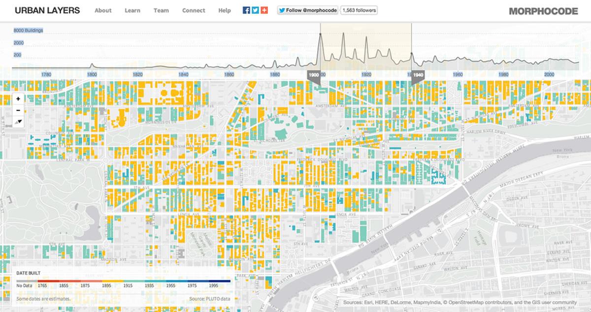 Původní projekt Urban Layers od Morphocode, kterým se inspiroval vídeňský Urban Change in Time.