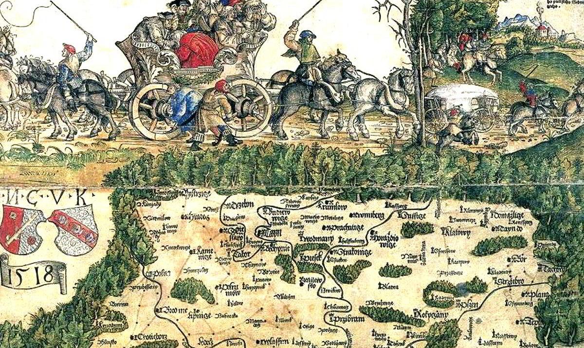 výřez Klaudyánova mapa Čech 1518 / GeoBusiness