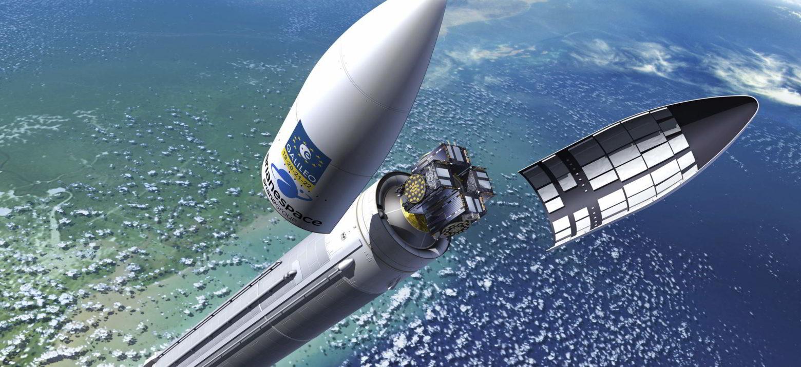 vynesení satelitů Galileo na raketě Arianne 5 - izualizace Pierre Carril, ESA, 2017