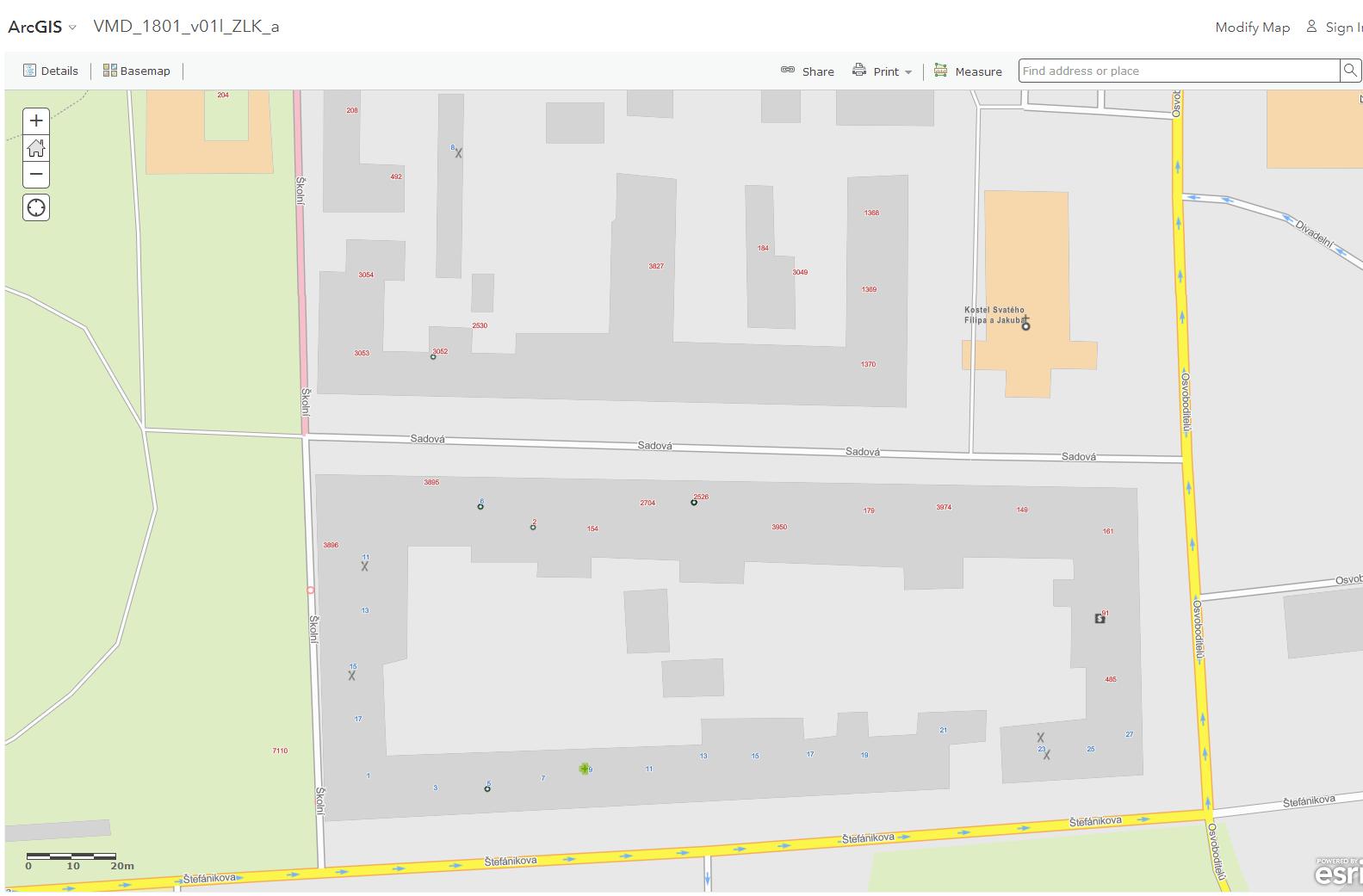 vektorová mapová dlaždice - CEDA