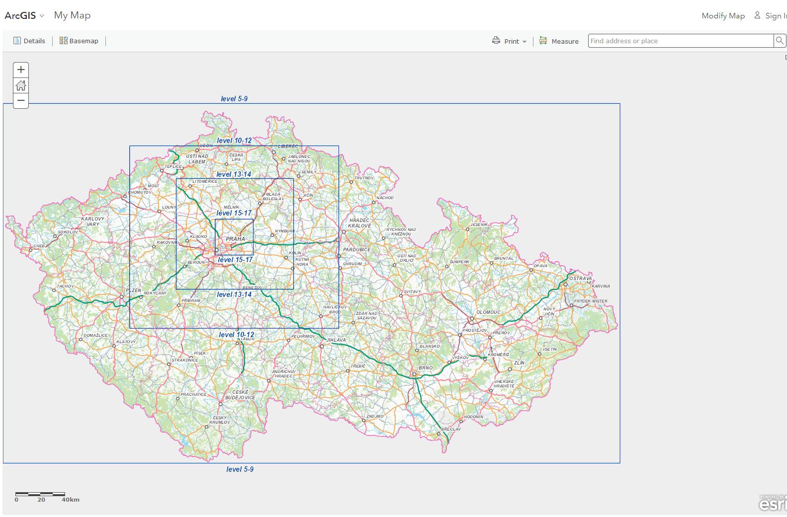 rastrová mapová dlaždice - CEDA