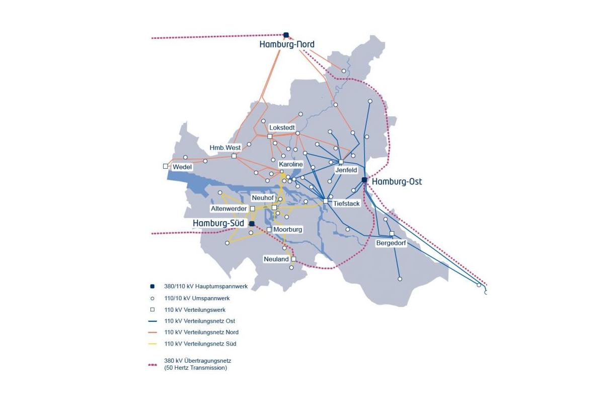 Stromnetz Hamburg energetická síť přehledka / GeoBusiness
