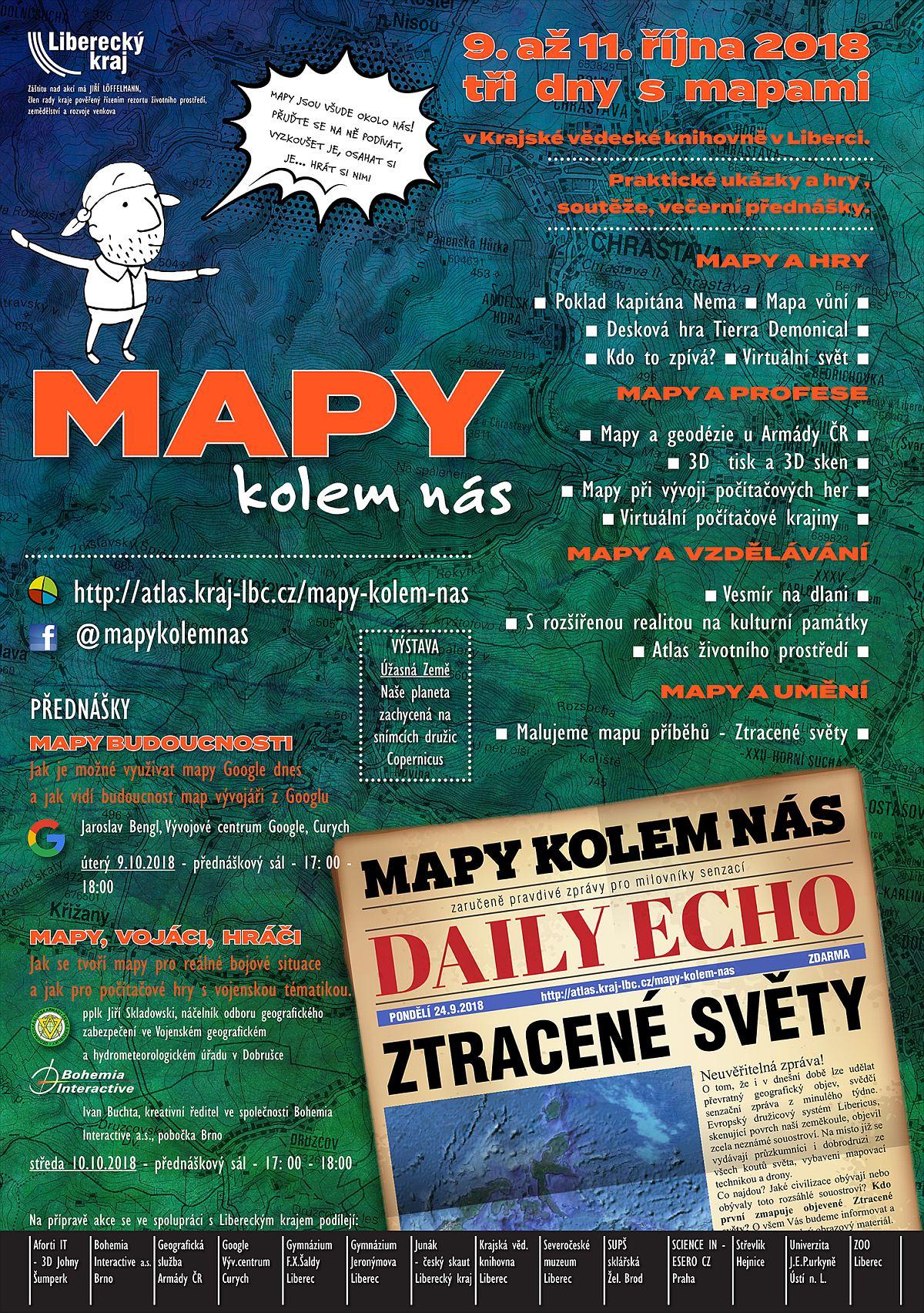 plakát Mapy kolem nás 2018 - program pro školy / GeoBusiness