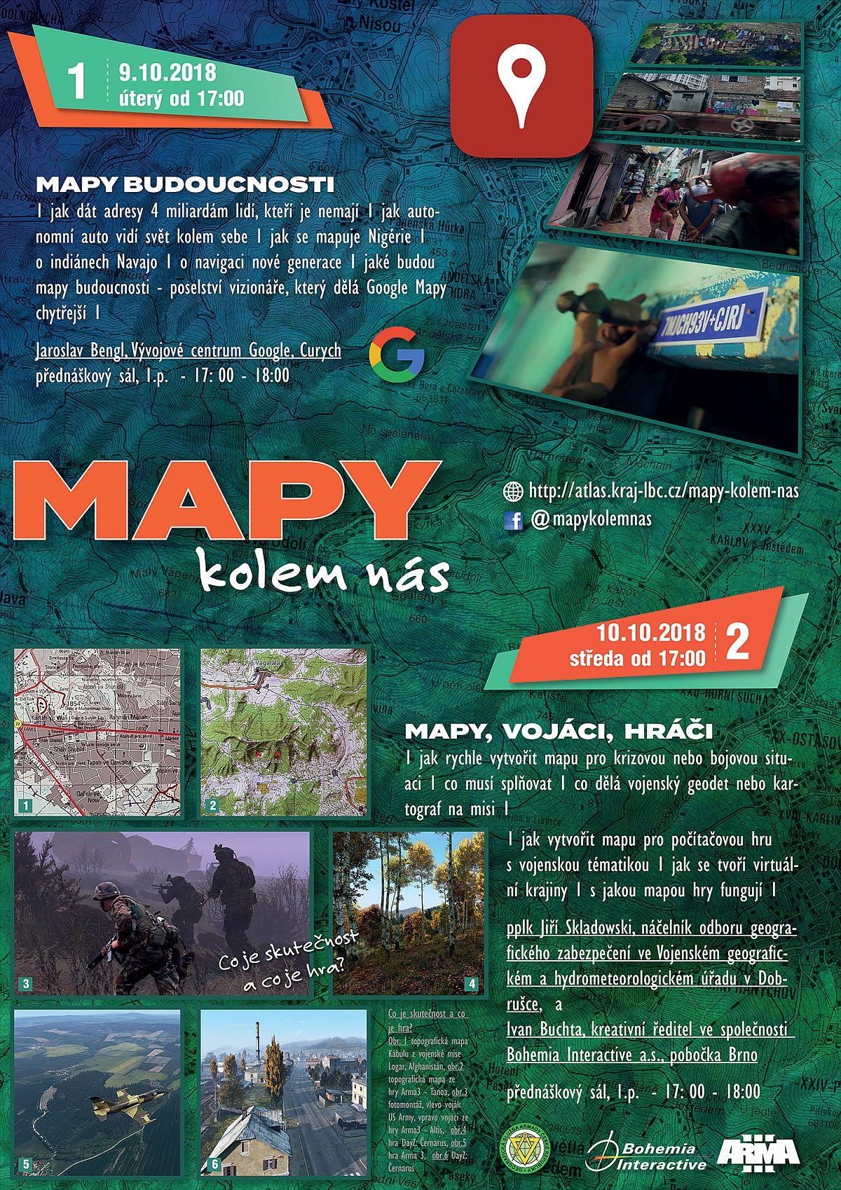 plakát Mapy kolem nás 2018 - přednášky pro veřejnost / GeoBusiness