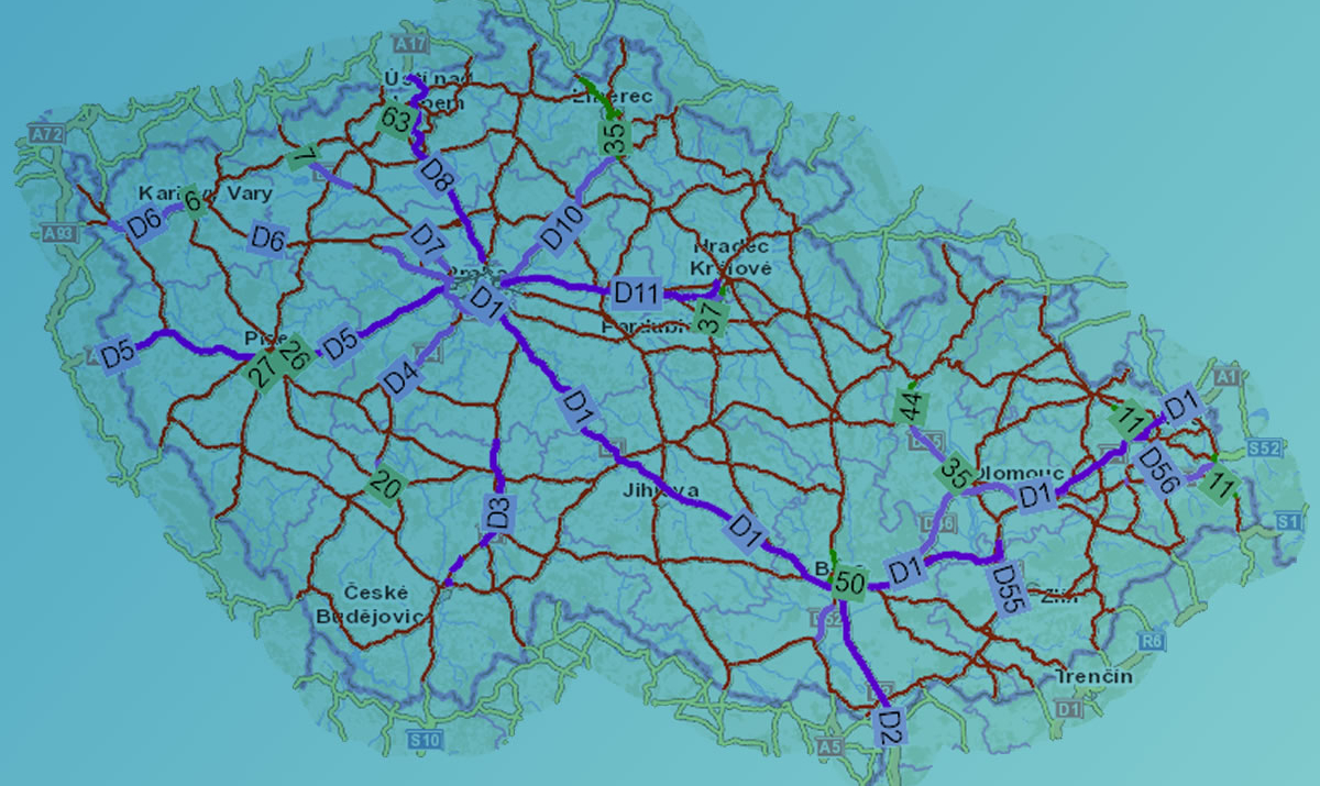 mapa silniční sítě ČR / GeoBusiness