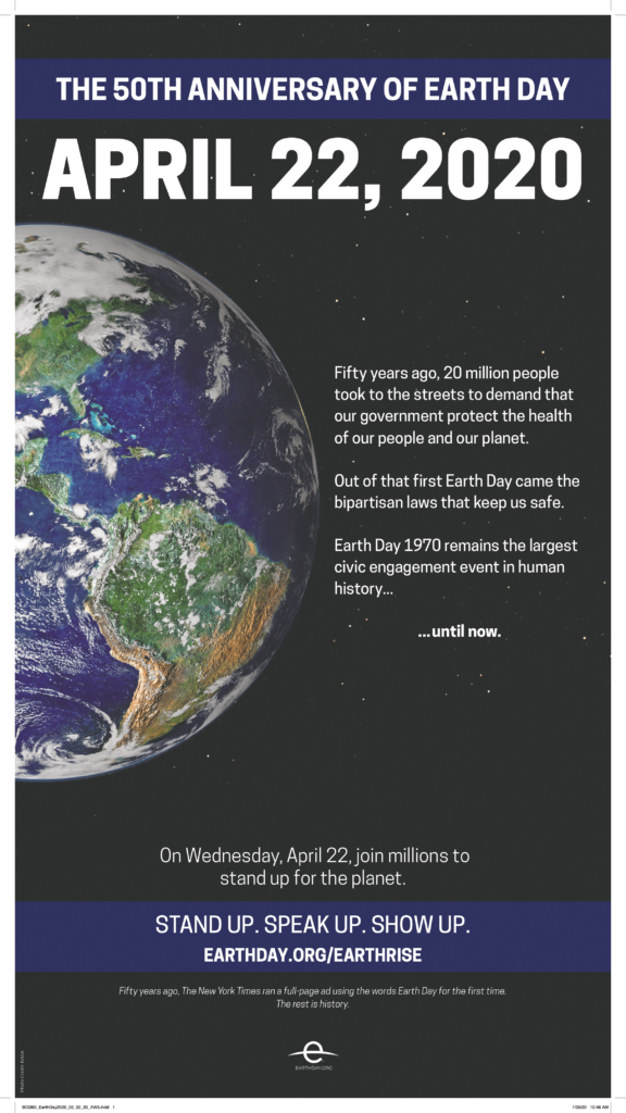 inzerát Earth Day 2020 v The New York Times