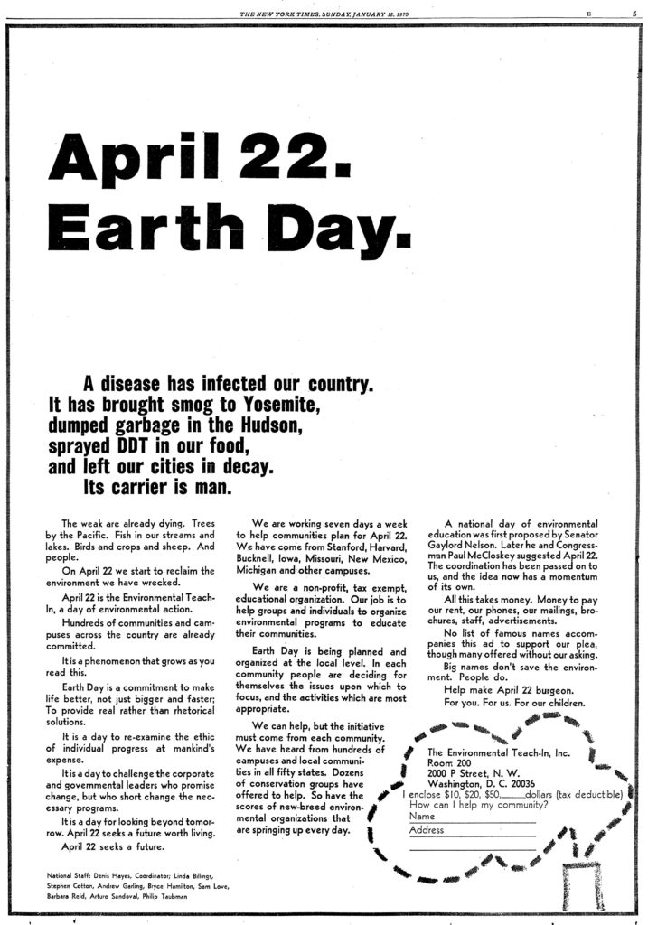 inzerát Earth Day 1970 v The New York Times